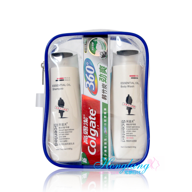 Travel wash set shampoo + shower gel + toothpaste + toothbrush + comb 5 piece set transparent wash bag