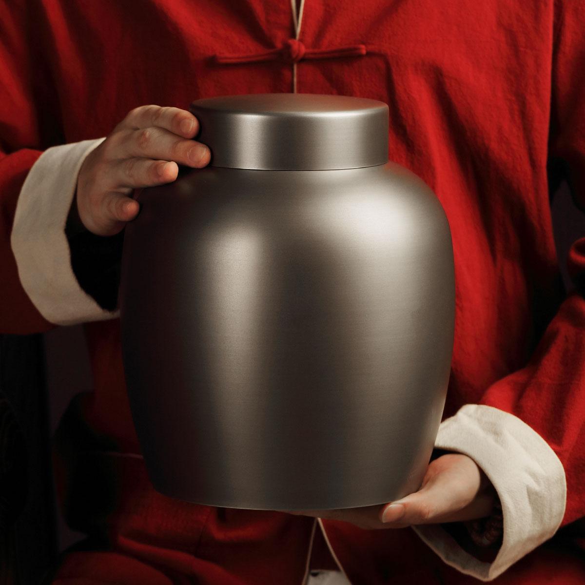 Zheming Hi-word tin can pure tin hand-made large tea can tea set tin large tea can household load 3 catties of tea