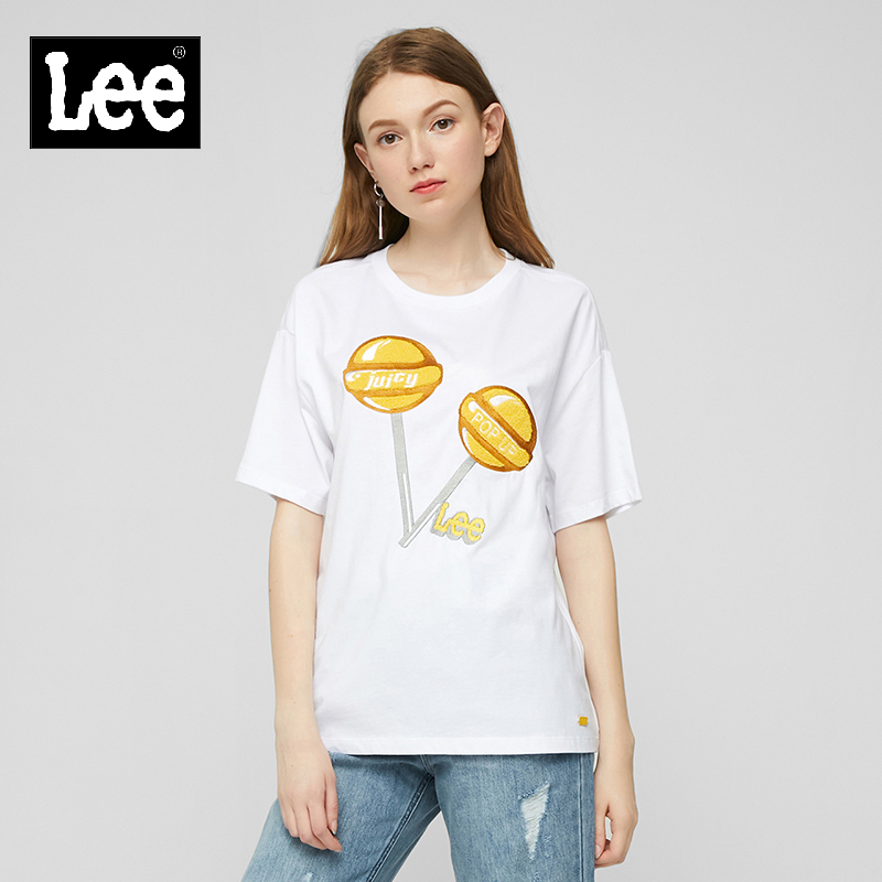 Lee mall same 2019 women's Cotton White / black printed loose short sleeve T-shirt l329283rt