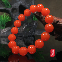 South red hand string cold mountain material persimmon red flame pattern Cherry red ice floating multi-circle bracelet 108 single-circle pulp