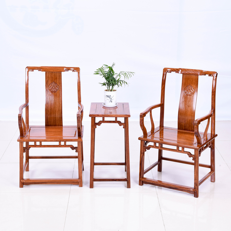 (clearing price) flower pear wood official hat chair three-piece set hedgehog purple sandalwood home back chair redwood furniture