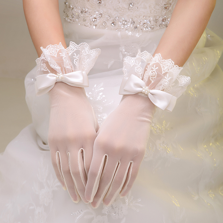 Bride's Gloves, Bride's Evening Gloves, Dresses, Lace Short Gloves, Gloves Accessories
