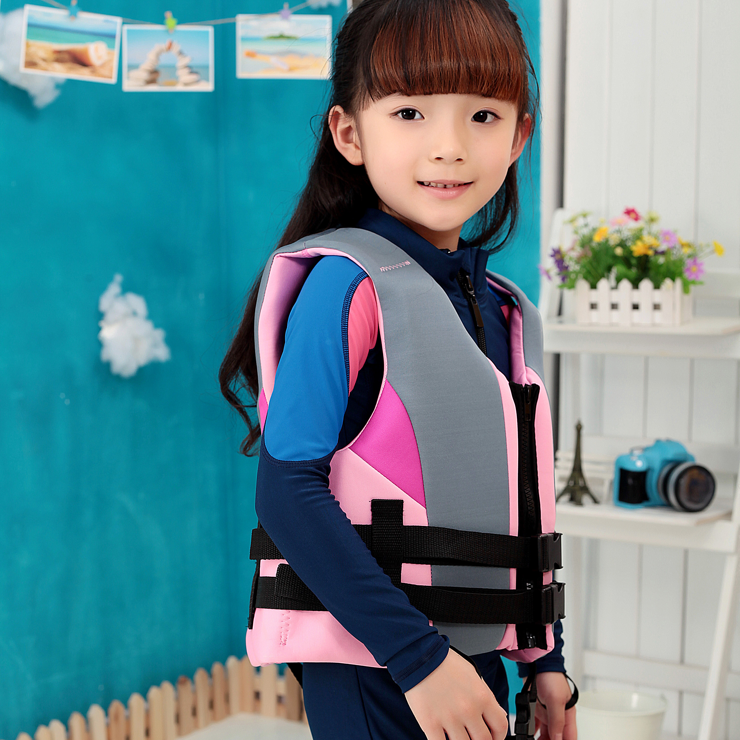Xia Langfeng children's life jacket floats baby boys and girls baby swimming vest buoyancy whistle cross belt