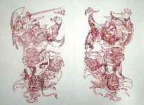 A set of two small sheets of Zhong Kui Cinnabar in the collection of the Wuqiang New Year Painting Museum