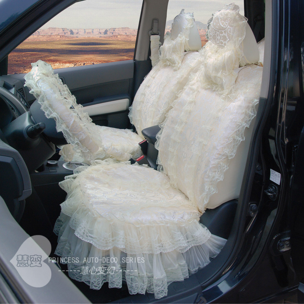 Hui change car seat cover all-inclusive cloth ladies cute lace seat set goddess models all seasons all-inclusive 19 sets