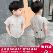 The boy set 2017 new baby crothet Korean children cotton short sleeved summer children 3-5 years of age in summer 6