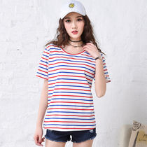 Known female loose short sleeve t shirt slim Korean students autumn end of 2017 summer t slub cotton shirt