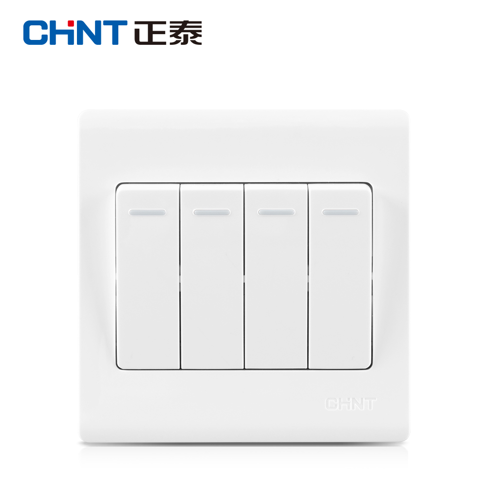 Chint switch socket wall switch NEW7D Four billing control switch panel Chint four billing