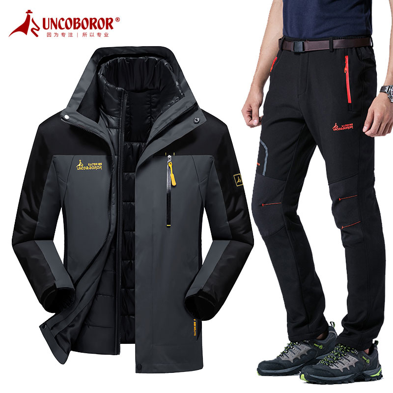 Three-in-one outdoor thicker charger suit for men in autumn and winter warm mountain climbing suit for couples in windproof large size charger trousers for women