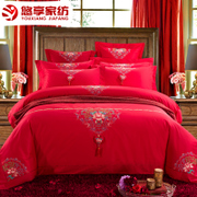 Enjoy home textile wedding bed, four sets of red, six sets of Chinese embroidery, new marriage kits, bedding