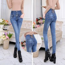Spring 2017 new high waist jeans womens trousers slim slimming plus size stretch pencil pants feet pants tide
