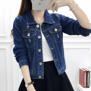 Spring and autumn slim denim jacket female short sleeved denim shirt all-match students loose thin Korean female coat