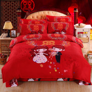 Four sets of Winter Wedding thick sanding double wedding red 2 bed bedding bedding 1.8m