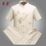 In elderly male youth male costume tunic suit short sleeved summer dad grandpa with male Chinese men's clothing