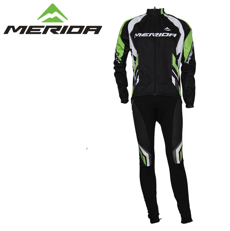 Merida Fall and Winter Cashmere Suit Long Sleeve Cycling Suit Plush Bicycle Clothing New Genuine Equipment Package