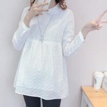 Pregnant women shirt spring autumn new long-sleeved shirt in the long section of the Korean version of loose doll shirt fashion lapel white shirt