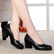 Leather shoes, women's shoes, black, medium, medium, round, thick, soft shoes, leather shoes, high heel shoes