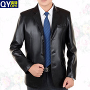 2017 spring new Korean leather collar suit jacket PU middle-aged man coat autumn tide men's father