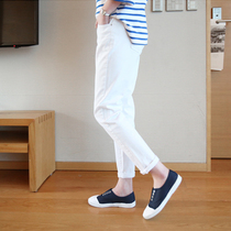 Relaxed casual BF wind Harlan white denim womens harem pants high waist wide leg pants feet pants baggy pants girl summer left bank