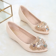 2017 new shoes in the spring and autumn increased shallow mouth flat slope with Diamond Beads Doug Crocs shoes scoop