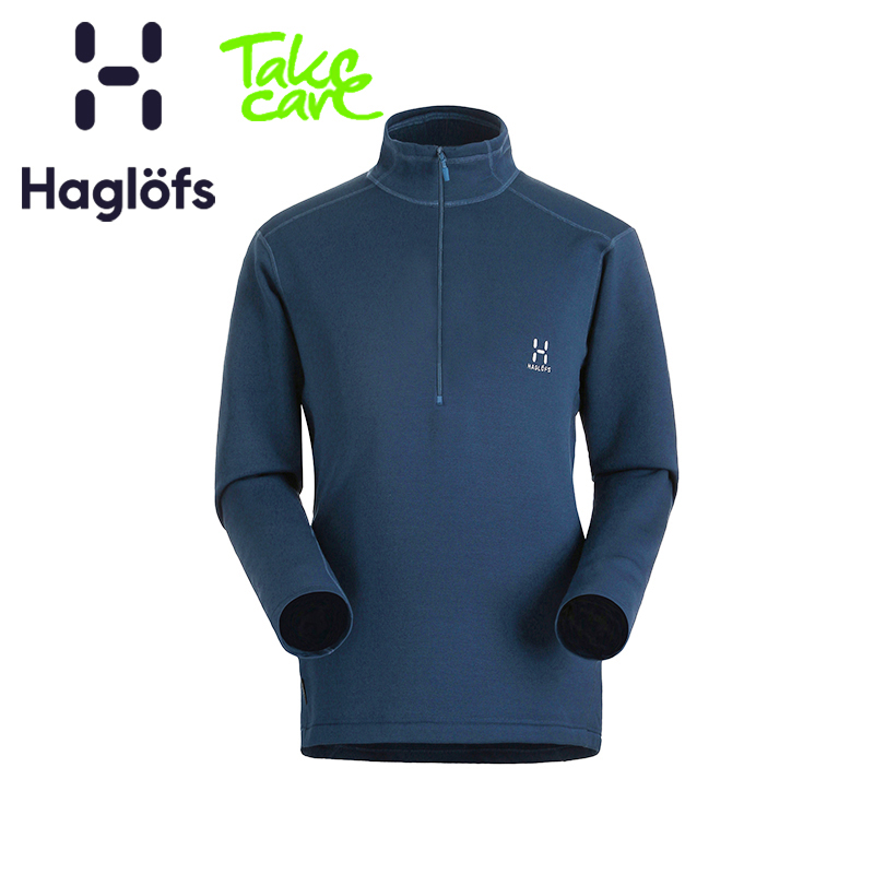 Haglofs Matchstick Men's Outdoor Elastic Comfort Semi-zipper Warm Grab Suede 603290 Euro Edition