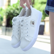 Sports shoes with flat bottomed female spring brushed denim casual white lace up shoes students.