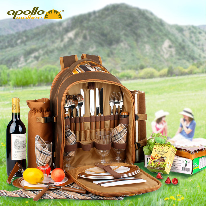 Outdoor Portable Four-person Picnic Package Tableware Set Multifunctional Tableware Set Camping Thermal Backpack