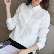 2017 new spring white shirt sleeved loose cotton all-match Korean female student Korean fan backing summer shirt inch