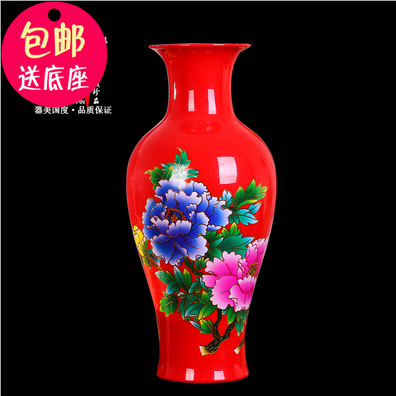 Jingdezhen Porcelain Fugui Bamboo Hydroponics Living Room Flower Vase TV Cabinet Arrangement Chinese Red Crafts