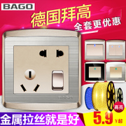 Baygon switch socket panel champagne gold 5 five hole socket type 86 stainless steel with a five hole package