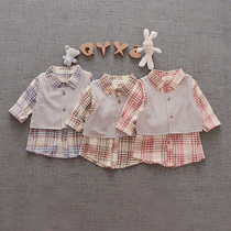 Infant long sleeve shirt or two baby boys casual versatile solid color Plaid clothing boys spring 0-1-2