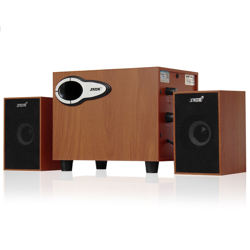 SADA D-200G laptop desktop computer audio USB mini wooden speaker 2.1 heavy subwoofer