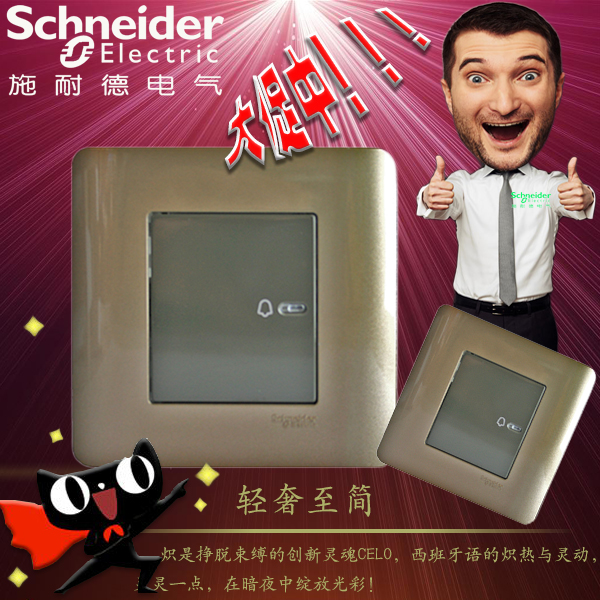 [The goods stop production and no stock]Schneider Switch Socket Light Point Wired Flat Door Bell Switch 86 Wall Panel Brown
