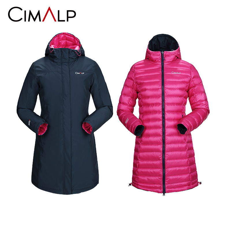 Cimalp Himal figure double-sided female white goose down jacket long outdoor casual warm top outside G