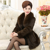 Fox fur collar the whole skin rabbit fur in the elderly mother installed in the large size plus cotton women coat clearance special