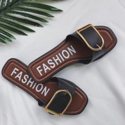 2017 new summer fashion flat metal belt buckle all-match wearing sandals slippers a female student