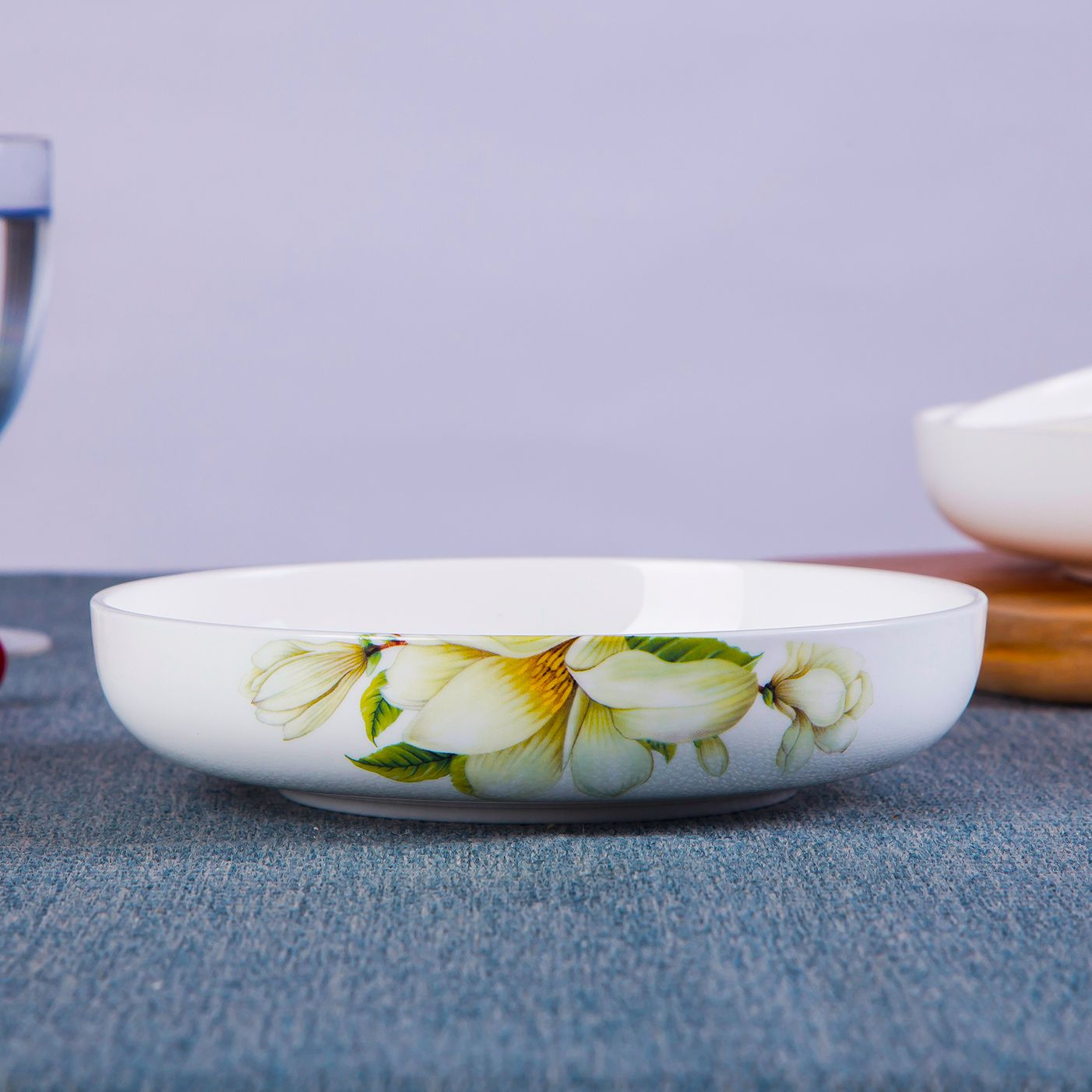 Household Wool Ceramics Round Bone Porcelain Deep Dish Soup Plate 焗 Rice Plate Creative Saucer Japanese Tableware