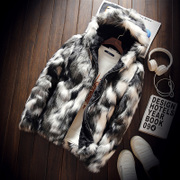 Male mink fur coat size imitation mink hooded windbreaker Plush Fleece coat Korean youth tide short paragraph