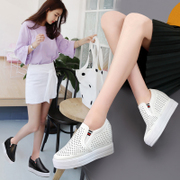 Increase in women's shoes, white shoes, women, hollow, breathable shoes, shoes, feet, shoes, shoes, high heels, spring and summer sports shoes