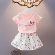 Cute girl children dress summer cotton short sleeved T-shirt skirt suits casual girls two piece children