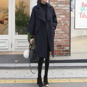 My coat female students 2017 new autumn Korean black in the long winter wool double coat in South Korea