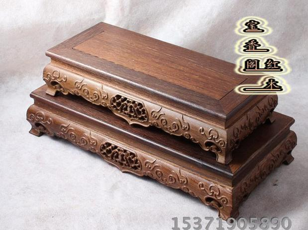 High-end mahogany carving rectangular solid wood pedestal vase pot jadeite pedestal Buddha statue of fortune God pedestal