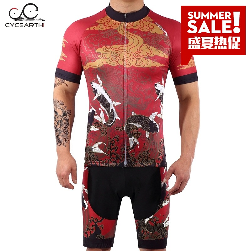 Cycearth summer cycling suit short sleeve suit men's and women's mountain bike top with straps and shorts 49