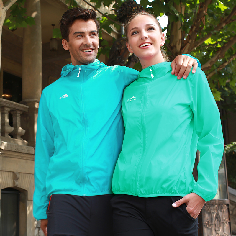 Jiaji outdoor men and women couple models spring and summer skin clothing breathable sunscreen thin sports skin windbreaker tide