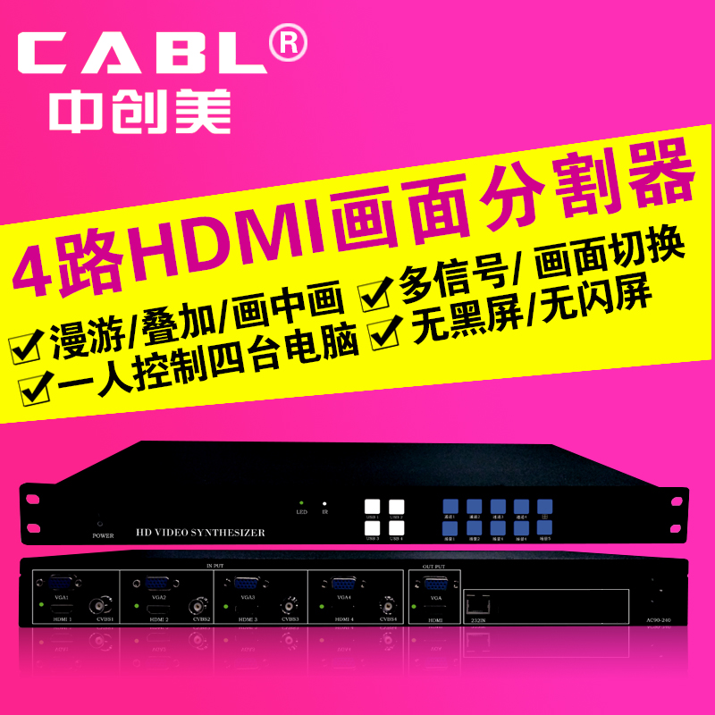 Hdmi high-definition picture splitter 4-way vga HDMI video screen splitting processor window stacking diffuse Man