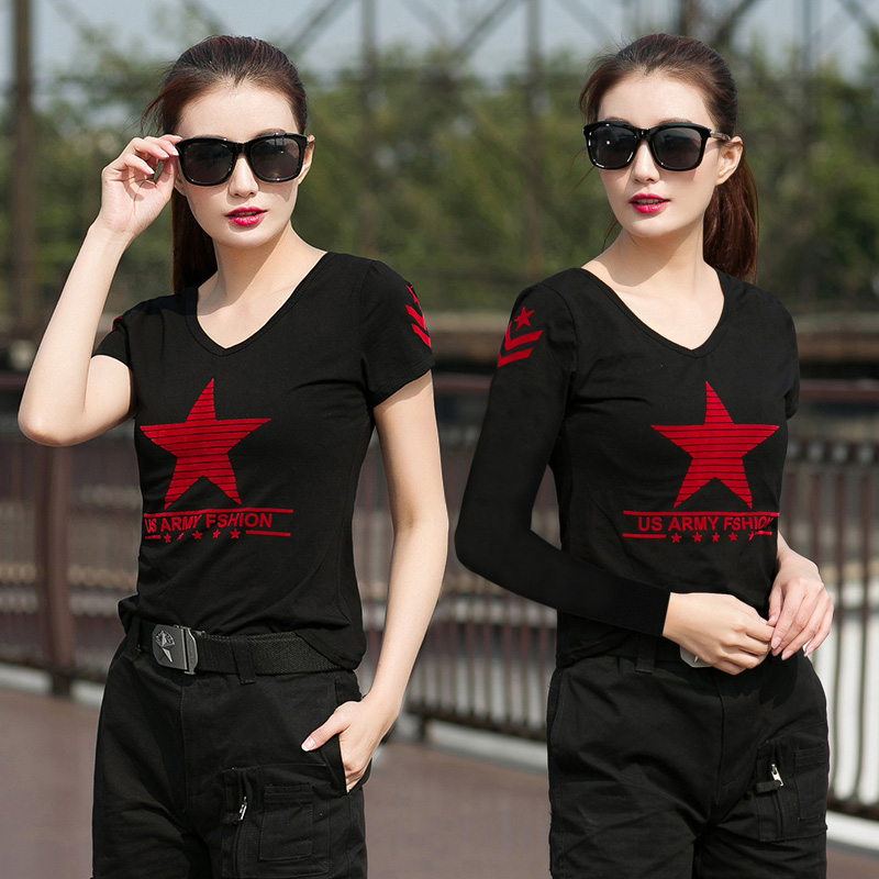 Outdoor camouflage costume Pentagon Marine Dance Costume Black V-collar short sleeve T-shirt long sleeve shirt for women dance square