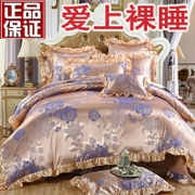 European silk satin bed four pieces cotton jacquard quilt 1.8 double 2 wedding cotton sheets