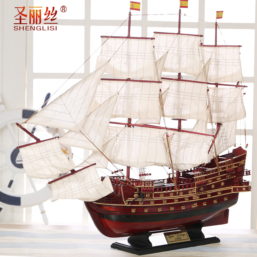 1 m sailboat model big wooden boat sailing along the Mediterranean soft decoration boat model gifts need to be assembled
