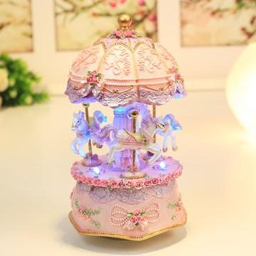 发光旋转木马音乐盒八音盒摆件创意生日六一儿童节礼物送女