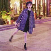 New Korean retro Plaid wool tweed coat female loose thickening in the long woolen coat maxmara